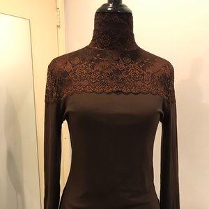 Lace turtleneck fleece lined long sleeve